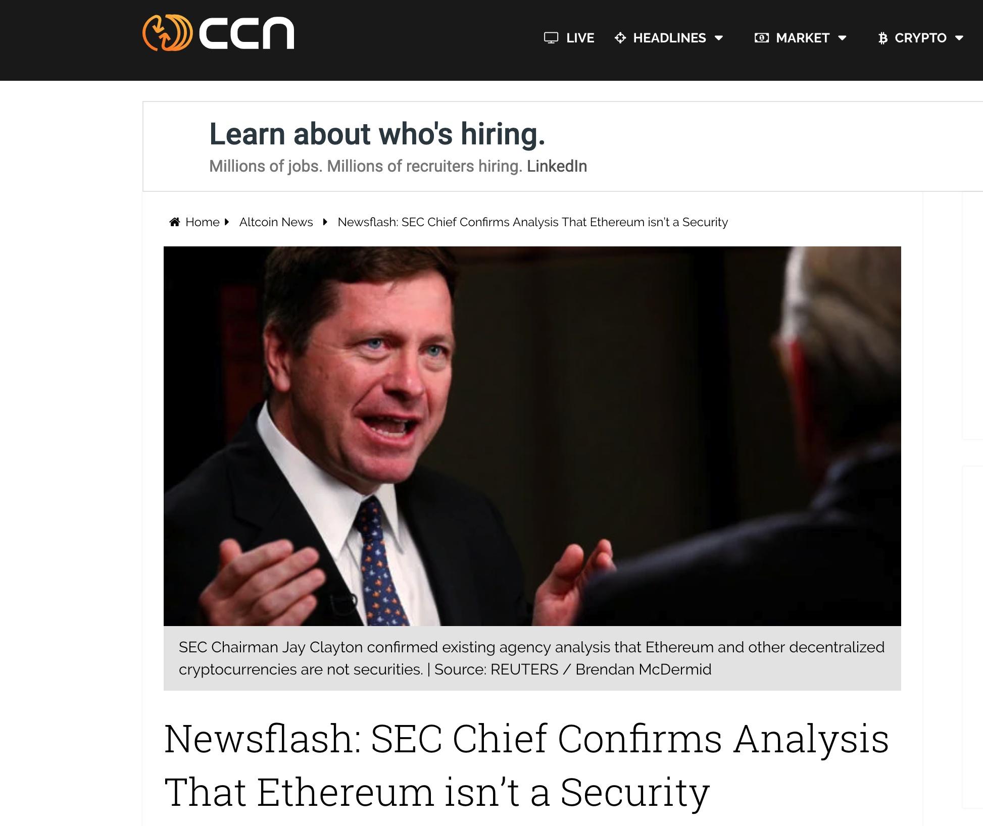 """从SEC主席公开信解读""""什么样的数字货币是证券?""""/"""